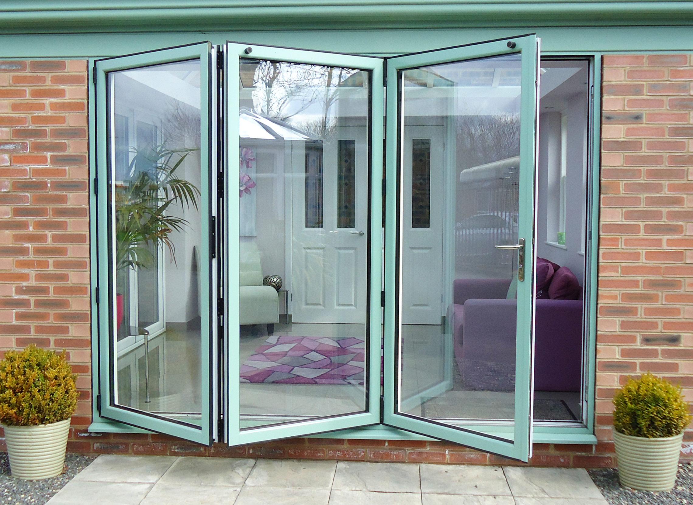 Green Bi-Fold Doors