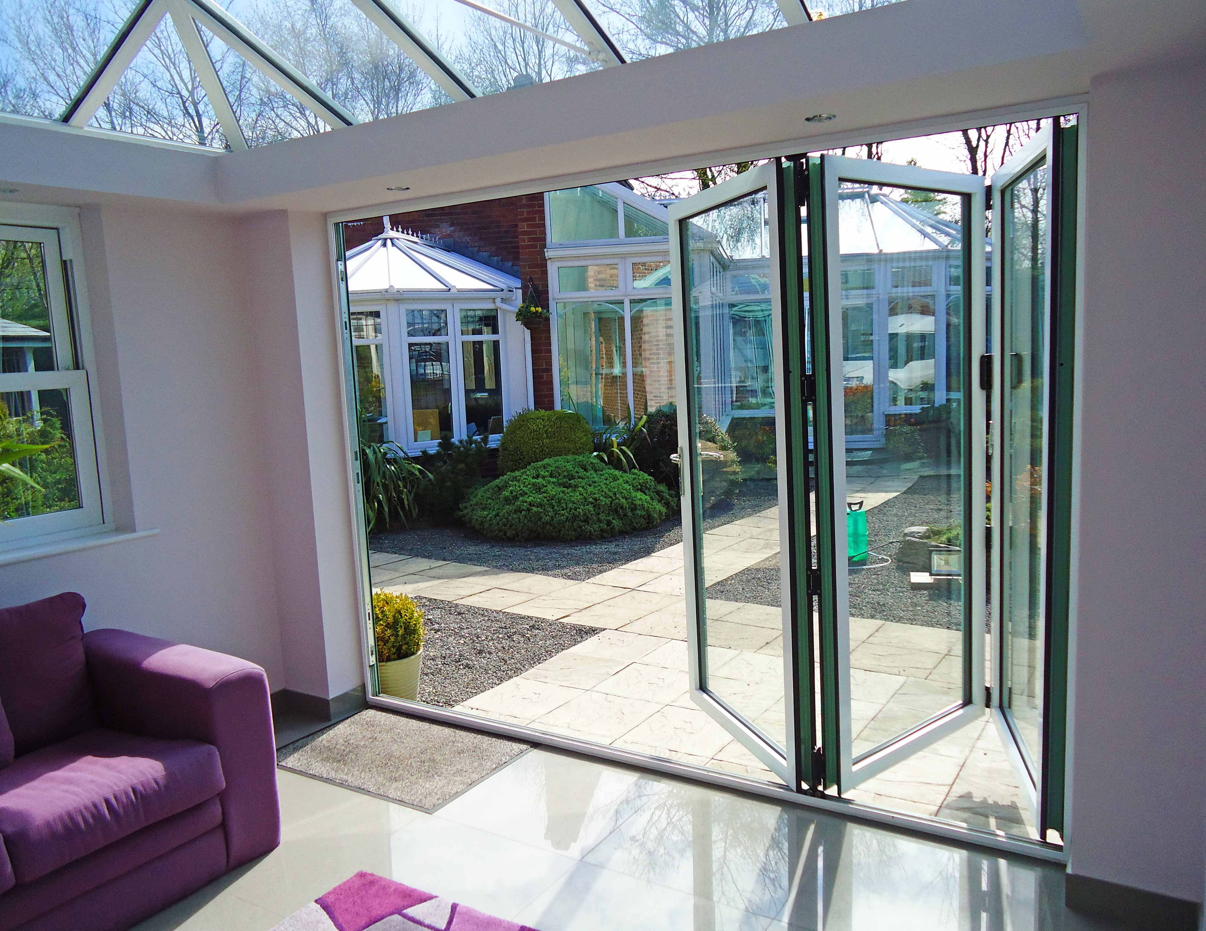 Orangery and Bi-Fold Doors in White Internal