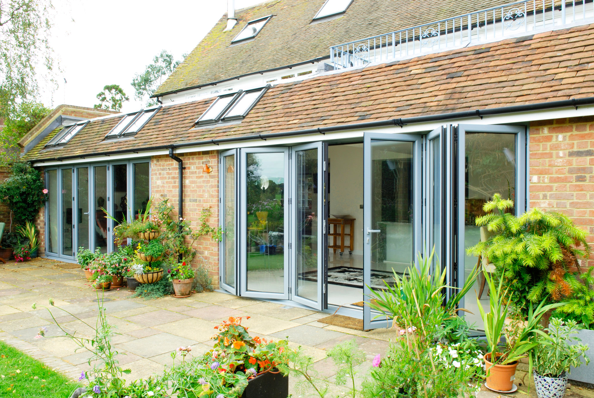 Grey Bi-Fold Doors and Skylights